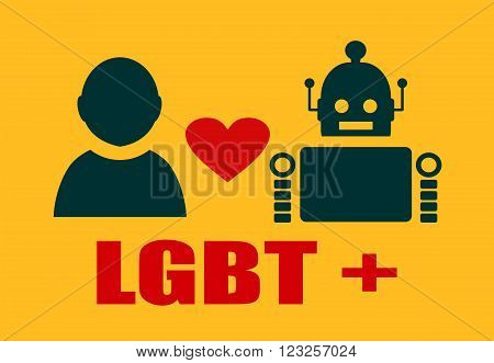 Human and robot relationships. Robotics industry relative image. Heart icon between robot and human. LGBT text