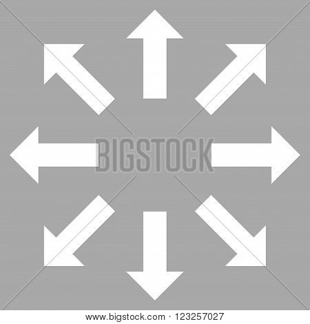 Explode Arrows vector icon. Image style is flat explode arrows pictogram symbol drawn with white color on a silver background.