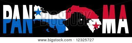 Panama text with map on Panamanian flag illustration JPEG