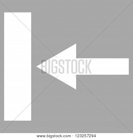 Move Left vector icon. Image style is flat move left pictogram symbol drawn with white color on a silver background.