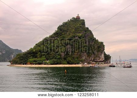Halong Bay in Vietnam. The most popular tourist destination in  sunset time. ** Note: Soft Focus at 100%, best at smaller sizes