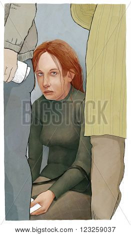 An illustration of exhausted young woman sitting at the wall waiting in a queue with pspers.
