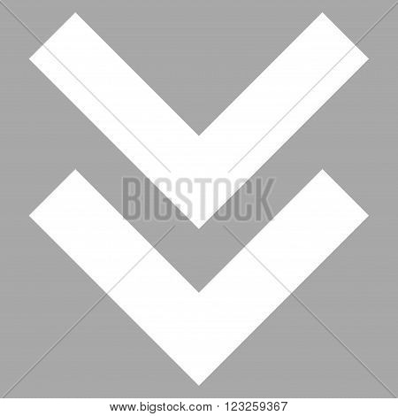 Shift Down vector icon. Image style is flat shift down pictogram symbol drawn with white color on a silver background.