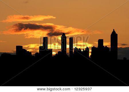Atlanta skyline at sunset with beautiful sky illustration