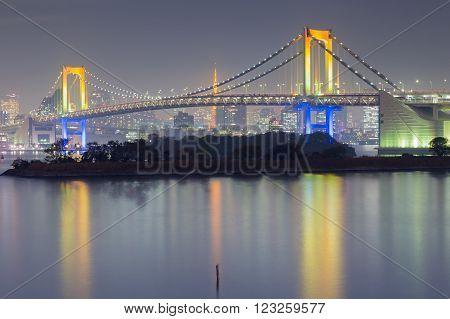 Rainbow bridge waterfront, Odiaba Japan night view