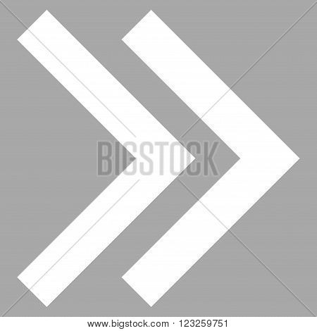 Shift Right vector icon. Image style is flat shift right pictogram symbol drawn with white color on a silver background.