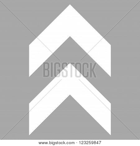 Shift Up vector icon. Image style is flat shift up pictogram symbol drawn with white color on a silver background.