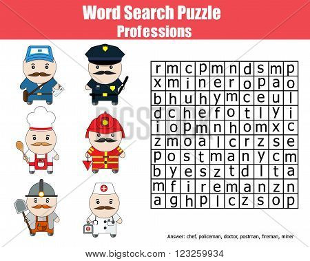 Word search puzzle. Find words children game