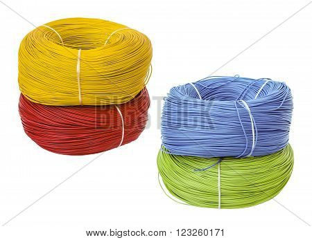 set colored electric cable on white background, isolated