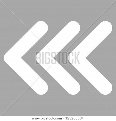 Triple Arrowhead Left vector icon. Image style is flat triple arrowhead left pictogram symbol drawn with white color on a silver background.