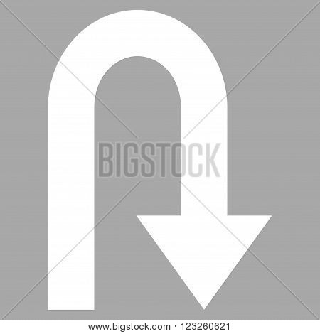 Turn Back vector icon. Image style is flat turn back pictogram symbol drawn with white color on a silver background.