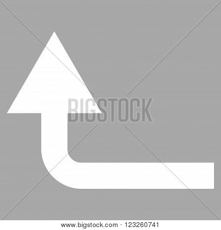 Turn Forward vector icon. Image style is flat turn forward pictogram symbol drawn with white color on a silver background.