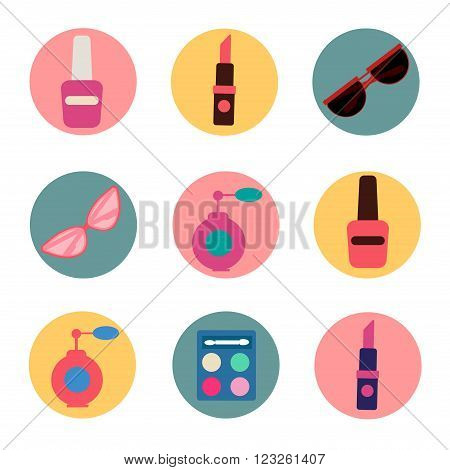 Cosmetics Set. Icons Set. Cosmetology. Fashion and Beauty. Perfume Polish Pomade. Female Beauty. Vector illustration. Flat Style