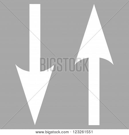 Vertical Exchange Arrows vector icon. Image style is flat vertical exchange arrows pictogram symbol drawn with white color on a silver background.