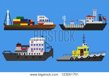 Set of industrial cargo ships and boats. Pixel art vector illustration