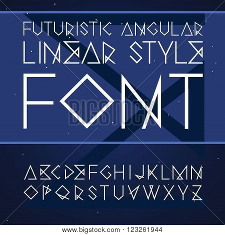Vector linear font - futuristic angular font in line style,