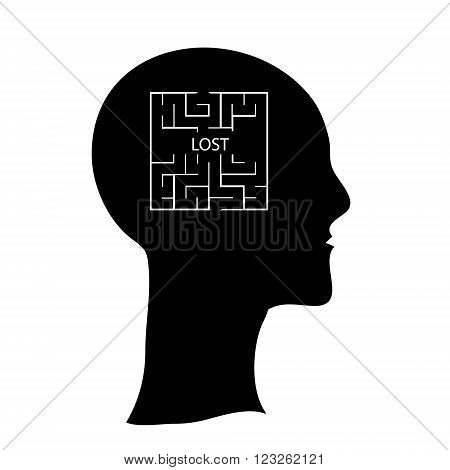 Labyrinth in the shape of a human head contarst vector illustration