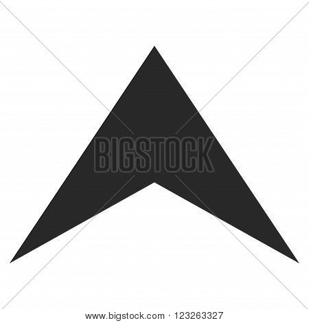 Arrowhead Up vector icon. Arrowhead Up icon symbol. Arrowhead Up icon image. Arrowhead Up icon picture. Arrowhead Up pictogram. Flat gray arrowhead up icon. Isolated arrowhead up icon graphic.