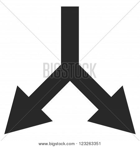 Bifurcation Arrow Down vector icon. Bifurcation Arrow Down icon symbol. Bifurcation Arrow Down icon image. Bifurcation Arrow Down icon picture. Bifurcation Arrow Down pictogram.