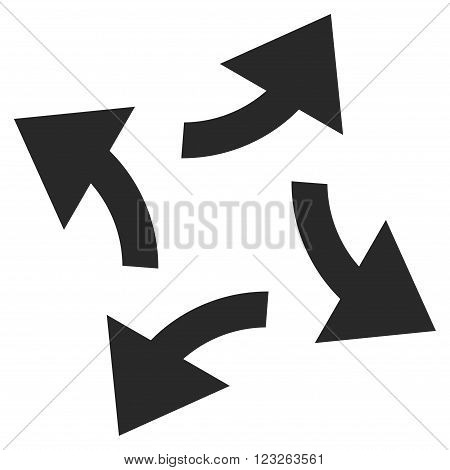 Centrifugal Arrows vector icon. Centrifugal Arrows icon symbol. Centrifugal Arrows icon image. Centrifugal Arrows icon picture. Centrifugal Arrows pictogram. Flat gray centrifugal arrows icon.