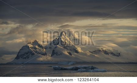 Mountain view in Antarctica sunset trp on the ship
