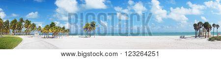 Panoramic view at Crandon park Beach of Key Biscayne Miami USA