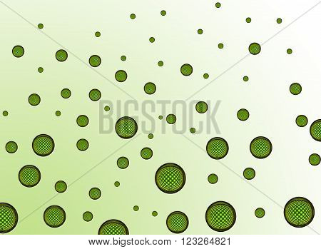Many small green air bubbles with a nice checkered pattrern
