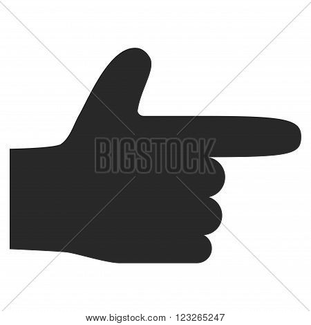 Hand Pointer Right vector icon. Hand Pointer Right icon symbol. Hand Pointer Right icon image. Hand Pointer Right icon picture. Hand Pointer Right pictogram. Flat gray hand pointer right icon.