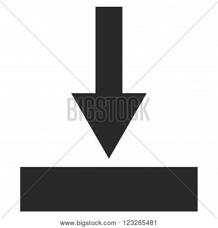 Move Bottom vector icon. Move Bottom icon symbol. Move Bottom icon image. Move Bottom icon picture. Move Bottom pictogram. Flat gray move bottom icon. Isolated move bottom icon graphic.