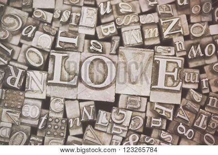 Close Up Of Typeset Letters With The Word Love