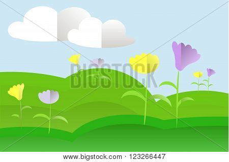 Landscape with green hills, meadow, blue sky, white clouds, yellow and purple flowers, flat design, vector
