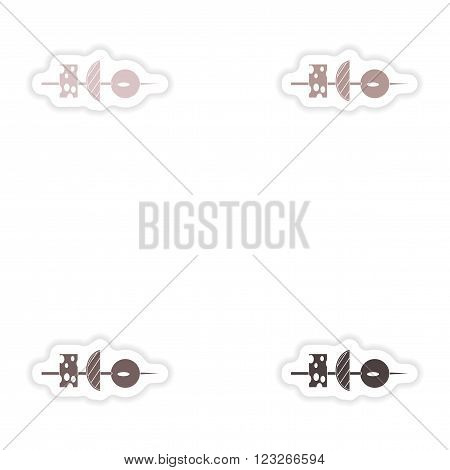 Set of paper stickers on white background   vegetable appetizer