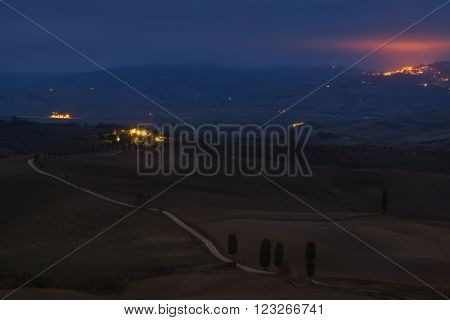 Italy, Val d'Orcia - Nov 06 :Val d'Orcia early in the morning on November 06, 2015 in Val d'Orcia, Italy
