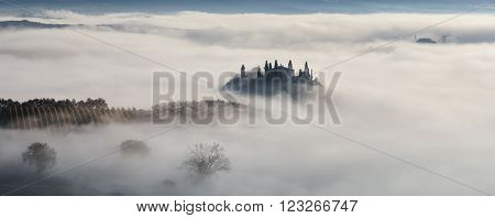 Italy, Val d'Orcia - Nov 07 :Foggy morning in Val d'Orcia on November 07, 2015 in Val d'Orcia, Italy