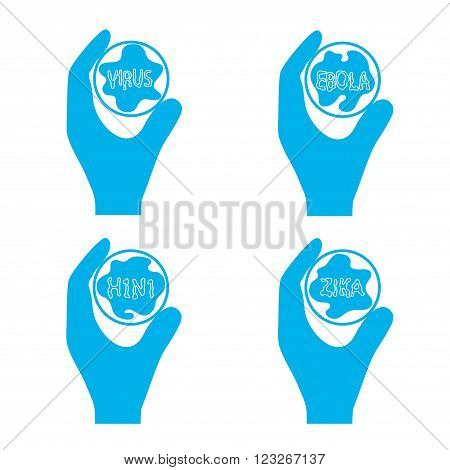 On the image is presented test tube with a virus in a hand icon symbol of fight against an epidemic