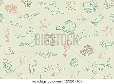 Seamless marine backgroundSeamless pattern with fish and marine life