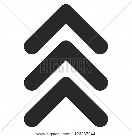 Triple Arrowhead Up vector icon. Triple Arrowhead Up icon symbol. Triple Arrowhead Up icon image. Triple Arrowhead Up icon picture. Triple Arrowhead Up pictogram. Flat gray triple arrowhead up icon.