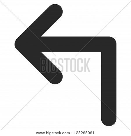 Turn Left vector icon. Turn Left icon symbol. Turn Left icon image. Turn Left icon picture. Turn Left pictogram. Flat gray turn left icon. Isolated turn left icon graphic. Turn Left icon illustration.