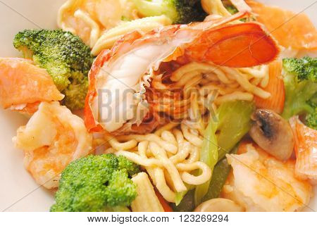 Chinese Vegetables with Lobster & Shrimp Over Noodles