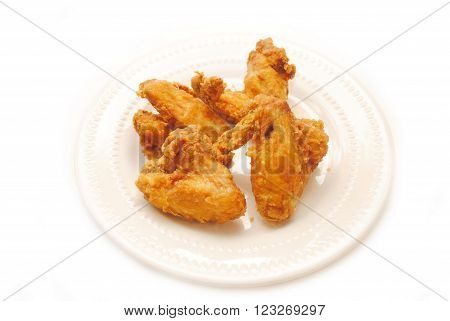 Deep Fried Chicken Wings on a Plate