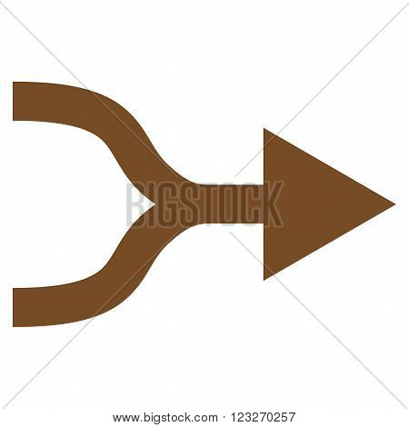 Combine Arrow Right vector icon. Style is flat icon symbol, brown color, white background.