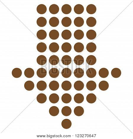 Dotted Arrow Down vector icon. Style is flat icon symbol, brown color, white background.