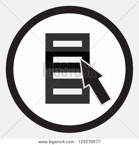 Choose from list cursor icon black white. Choice list cursor icon choose select concept point pointer symbol. Vector abstract flat design illustration