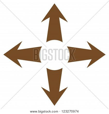 Expand Arrows vector icon. Style is flat icon symbol, brown color, white background.