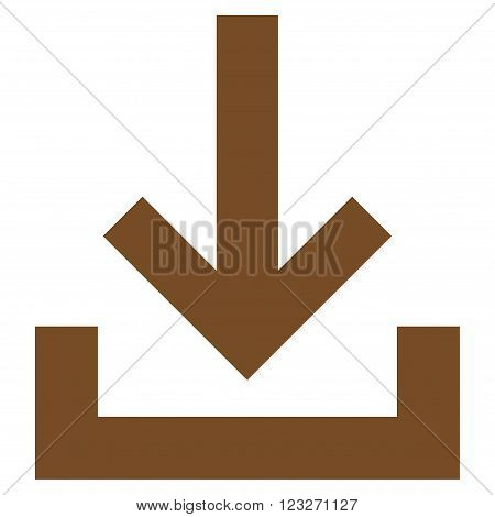 Inbox vector icon. Style is flat icon symbol, brown color, white background.
