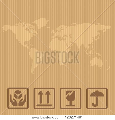Fragile signs and world map packaging box. Vector illustration isolated box on brown carton delivery background for web icon banner infographic.