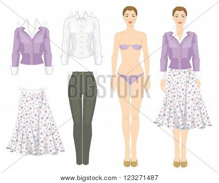 Paper doll with clothes. Template of woman body. Set of template paper clothes. Clothes for office and holiday.
