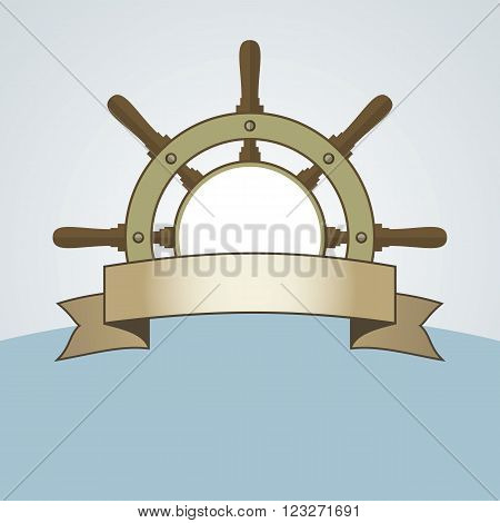 Ship helm vector background. Steering helm with banner and blank area. Ship helm vector symbol with blank banner. EPS8 vector illustration.