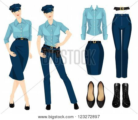 Vector illustration policewoman in uniform and hat isolated on white. Formal blue pants, skirt, shirt, black classic shoes and black boots with lace isolated on white background.