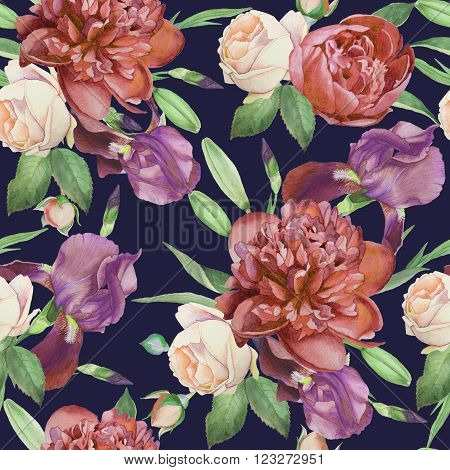 Floral seamless pattern with watercolor peonies, roses and violet iris. Floral background